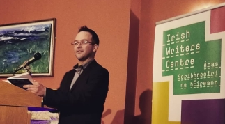 Scott De Buitléir, speaking at the launch of his book, The Irish Outlander, at the Irish Writers Centre in Dublin.